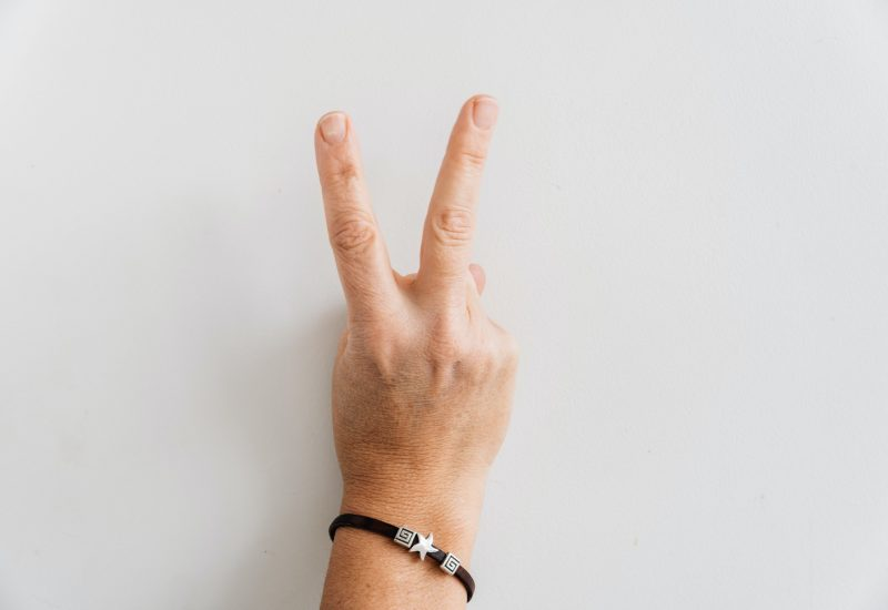 Peace Sign and Victory on a white background. Gesture of woman hand. Space for copy